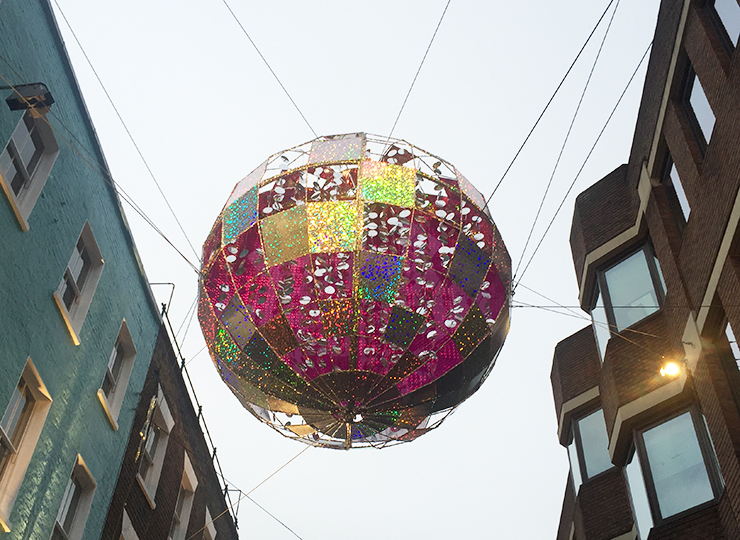 I love these giant baubles on Carnaby Street, particularly the way they have been suspended in between the buildings.