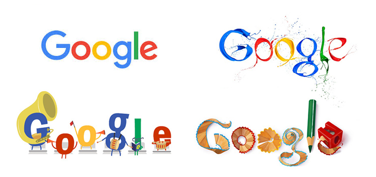 Google is an interesting example, notice how the colours are always the same for each letter – yet each version of the logo is hugely different.