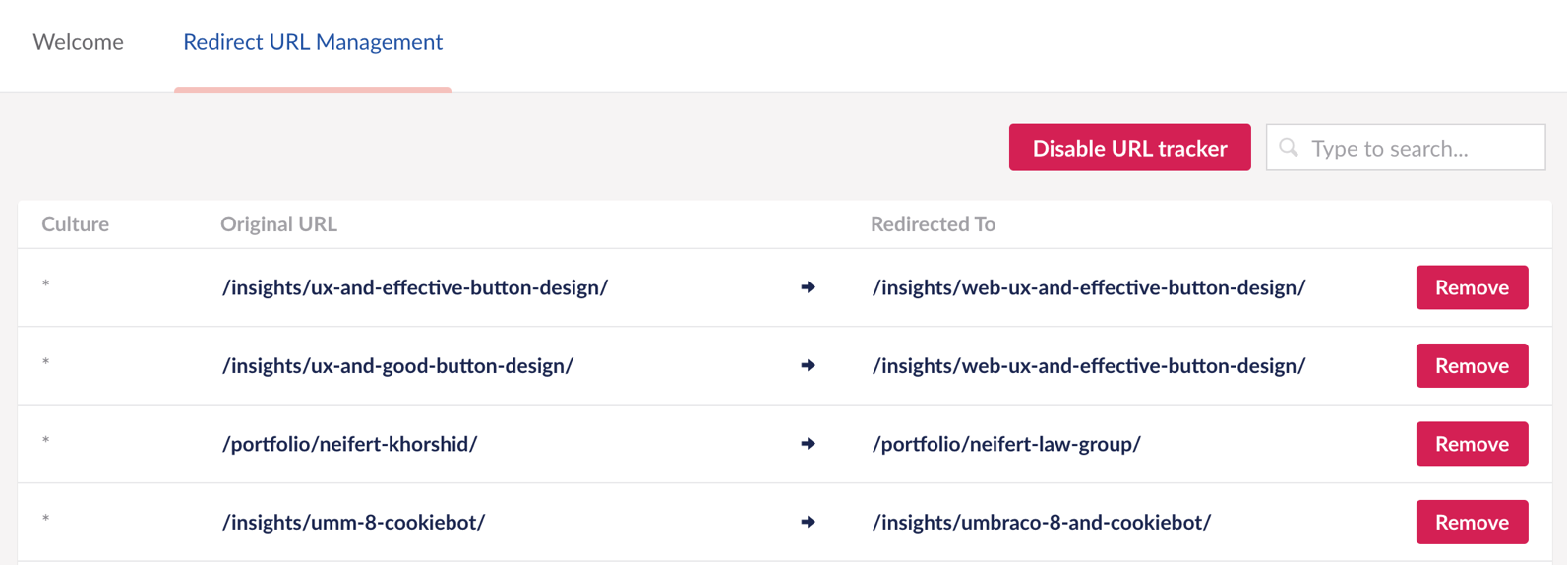 The automatic redirection dashboard shows you all the recent re-directs that Umbraco has managed automatically